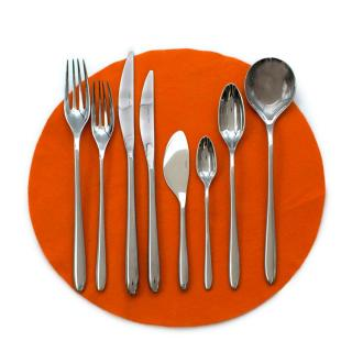 Hermes Set of 10 Sterling Silver Iliane Flatware - 7 Piece Setting
