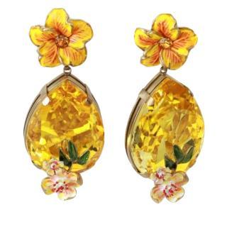 Dolce & Gabbana Citrine Yellow Crystal Drop Earrings