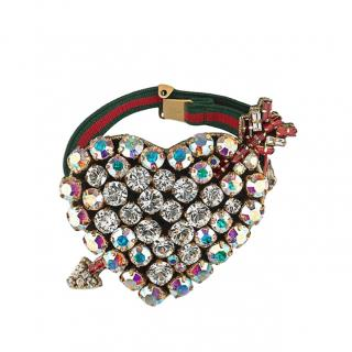 Gucci Web Stripe Crystal Heart Bracelet