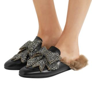 Gucci Crystal Embellished Leather Fur Lined Princetown Slippers