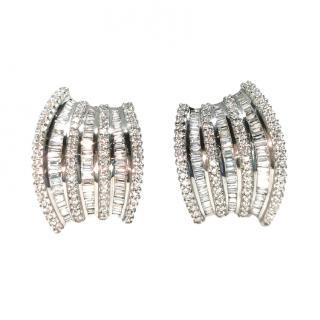 Bespoke White & Yellow Gold Set Diamond Cluster Earrings
