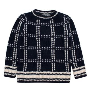 Bonpoint Kids 4Y Navy Knit Embroidered Jumper