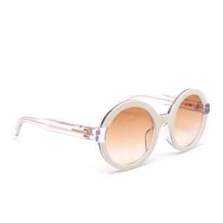Bally White Acetate Round Transparent Armed Glasses