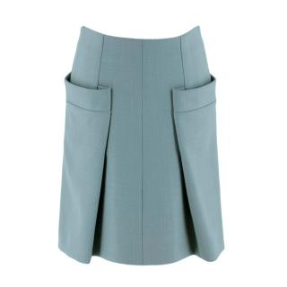 Chloe Sage Green Pleated Woven Tweed Bell Skirt
