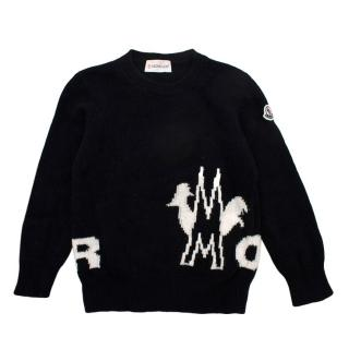 Moncler Black Virgin Wool Knitted Logo Jumper