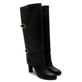 Sergio Rossi Black Leather Heeled Knee Boots