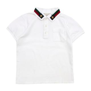 Gucci White Striped Collar Polo Shirt