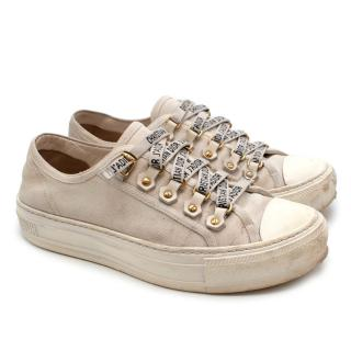 Dior Cream Canvas Walk'n'Dior Lace Up Sneakers