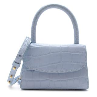 By Far Baby Blue Leather Mini Croc-Effect Handle Tote