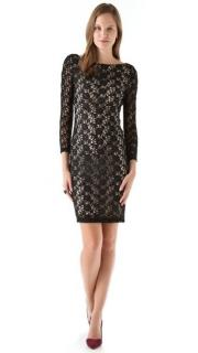 Alice + Olivia black lace detailed open back dress