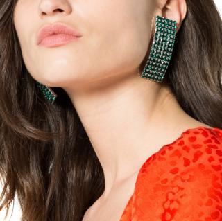 Alessandra Rich Green Rectangle Crystal Earrings