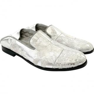 Alexander McQueen Silver Embroidered Slippers