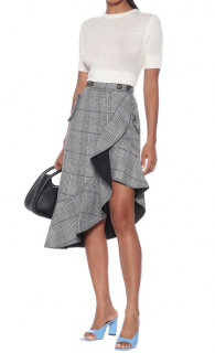 Self Portrait Check Flounced Midi Skirt