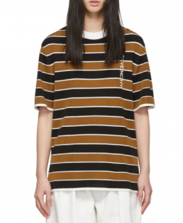 Givenchy Tan and Black Striped Oversize T-Shirt