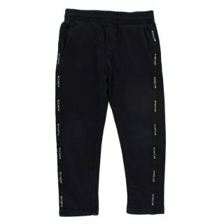 Moncler Kids Black Cotton Logo Side Stripe Joggers