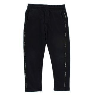 Moncler Kids Black Cotton Logo Side Stripe Joggers