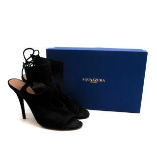 Aquazzura Black Suede Open Toe Cut-Out Sandals