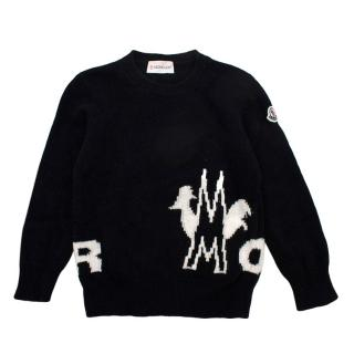 Moncler Kids Black Wool Embroidered Sweater