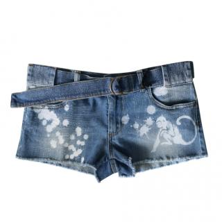 REDValentino Denim Spray Painted Shorts