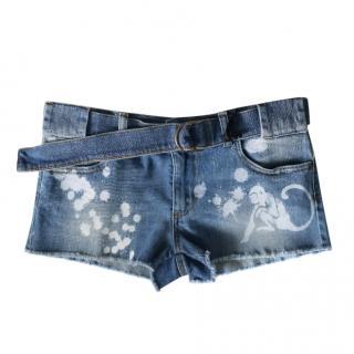 REDValentino Denim Spray Painted Shorts