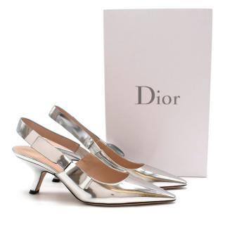 Christian Dior Metallic Leather Slingback Sandals