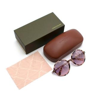 Longchamp Pink Tortoise Shell Circle Framed Sunglasses