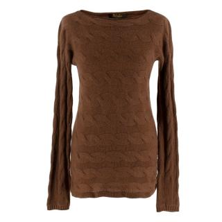 Loro Piana Baby Cashmere Brown Cable Knit Jumper