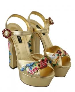 Dolce & Gabbana Gold Floral Print Block Heeled Sandals