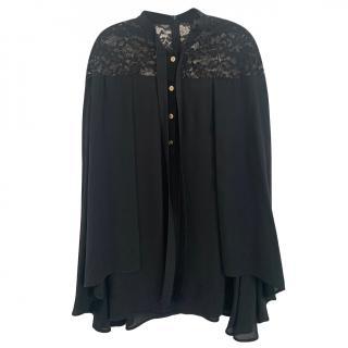 Elie Saab Black Lace Detailed Cape Blouse