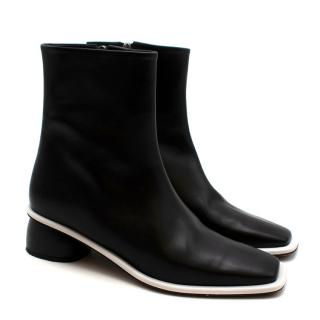 Neous Black & White Square Leather Ankle Boots