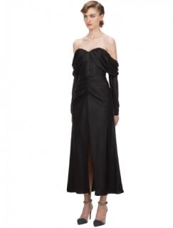 Self Portrait Black Dot Jacquard Off Shoulder Midi Dress