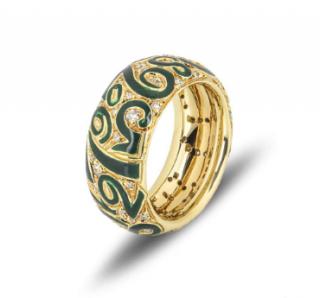 Franck Muller Enamel Talisman Diamond Ring