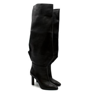 Stephen Venezia Black Leather Stiletto Knee Boots