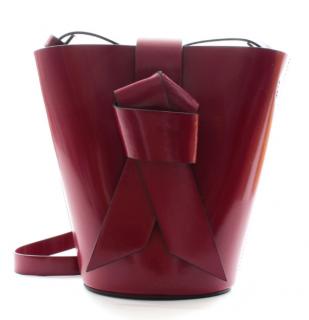 Acne Studios Patent Burgundy Musubi Bucket Bag