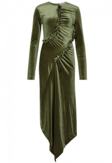 Preen By Thornton Bregazzi Tegan Green Asymmetric Velvet Dress