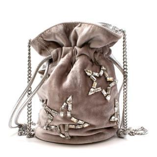 Emm Kuo Silver Velvet Bucket Bag With Swarovski Stars