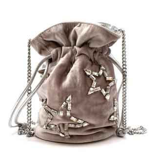 Emm Kuo Silver Velvet Bucket Bag With Swarovski Stars