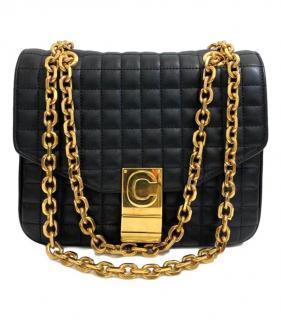 Celine Black Leather Quilted C Bag