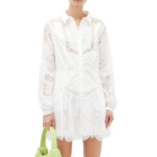 Self Portrait White Lace Panel Shirt Dress