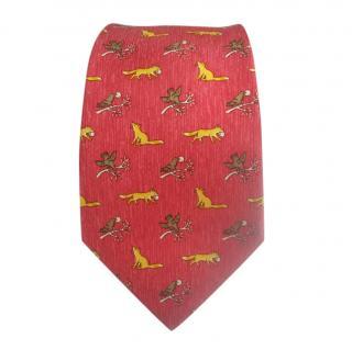 Hermes Fox & Birds Printed Silk Tie