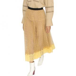 Self Portrait Yellow & Nude Polka Dot Midi Skirt