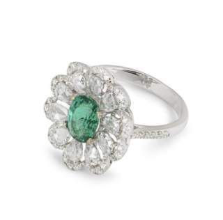 Bespoke White Gold Emerald & Diamond Floral Ring