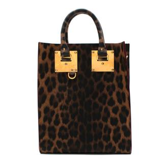 Sophie Hulme Leather Leopard Print Top Handle Tote