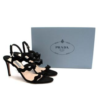 Prada Black Suede Leather Scalloped Sandals