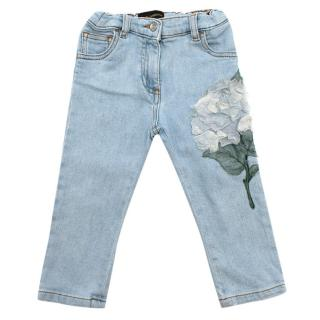 Dolce & Gabbana Girls Denim Flower Embroidered Jeans