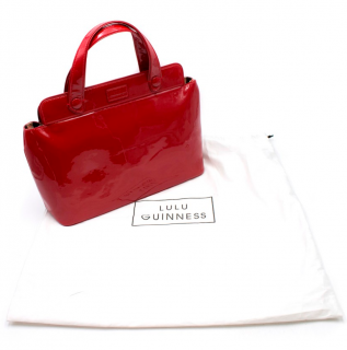 Lulu Guinness Red Patent Leather Top Handle Bag