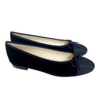 Chanel Black Velvet Cap-Toe Ballerina Flats