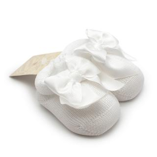 Story Loris Cotton White Knitted Booties with Bow
