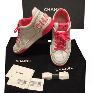 Chanel Pink Neon Trimmed White Leather CC Sneakers