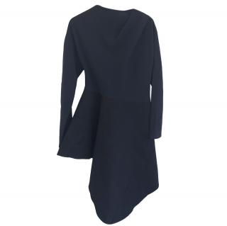 Marni Linen & Wool Black Draped Dress